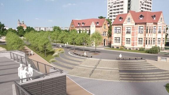 Platz zwischen Anna-Ebert-Brücke (rechts) und neuer Pylonbrücke (links)