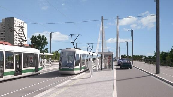 Neue Haltestelle Zollhaus vor der neuen Pylonbrücke