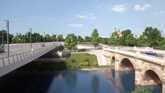 Bereich zwischen einhüftigem Rahmen (links) und Zollbrücke (rechts)