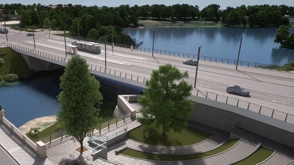 Bereich zwischen Zollbrücke (links) und einhüftigem Rahmen (rechts)