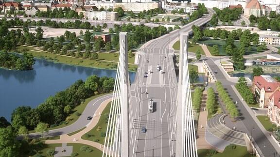 Draufsicht auf den neuen Brückenzug in Richtung Innenstadt