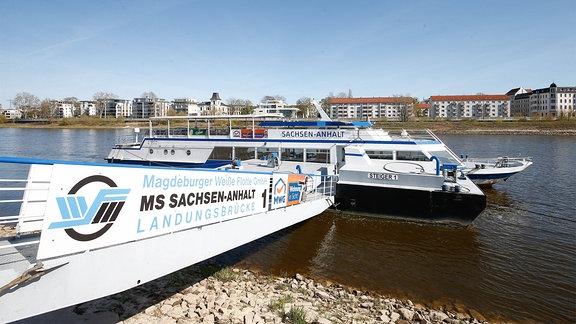 Passagierschiff ''Steiger 1'' der Weißen Flotte Magdeburg an Anlegestelle.