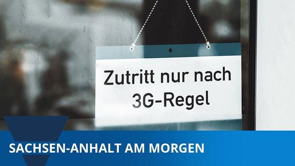 Geschäft mit der Aufschrift: Zutritt nur nach 3G Regeln