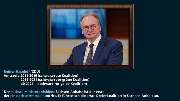 Reiner Haseloff (CDU)  Amtszeit: 2011-2016 (schwarz-rote Koalition), 2016-2021 (schwarz-rote-grüne Koalition), ab 2021 (schwarz-rot-gelbe Koalition) Der sechste Ministerpräsident Sachsen-Anhalts ist der erste, der eine dritte Amtszeit antritt. Er führte ach die erste Dreierkoalition in Sachsen-Anhalt an.