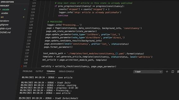 Screenshot des Skriptes für die automatisierte Wahlberichterstattung