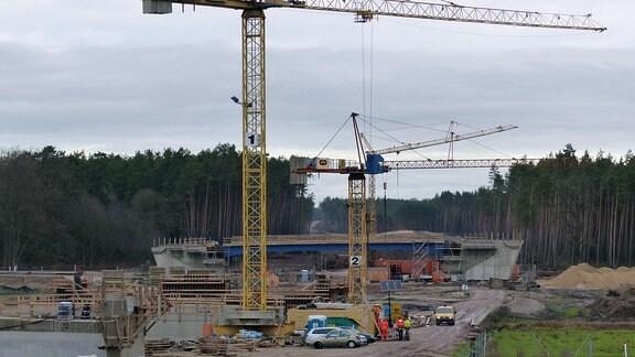 Riesige Baukräne auf Großbaustelle im Wald