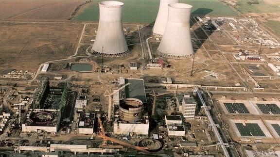 Baustelle des Kernkraftwerkes Stendal im Jahre 1990