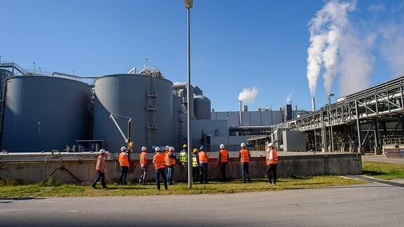 """Vertreter von Firmen die sich am Energieeffizienz-Netzwerk """"Reginee"""" (Regionales Netzwerk Energie) Mitteldeutschland beteiligen bei einer Begehung des Werks von Mercer Stebdal"""
