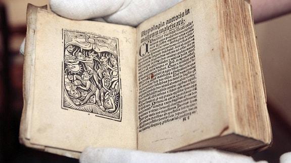 Der Hexenhammer von 1511 in einer Ausstellung des westfälischen Museums für religiöse Kultur in Telgte (Foto vom 11.7.2012).