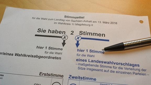Stimmzettel zur Landtagswahl in Sachsen-Anhalt