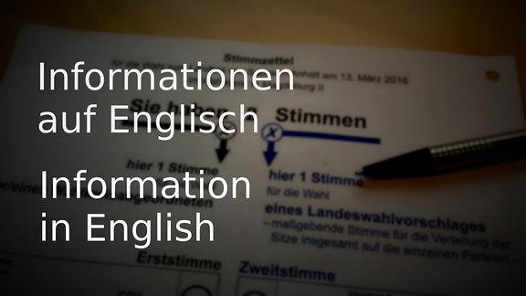 Stimmzettel zur Landtagswahl in Sachsen-Anhalt - englisch