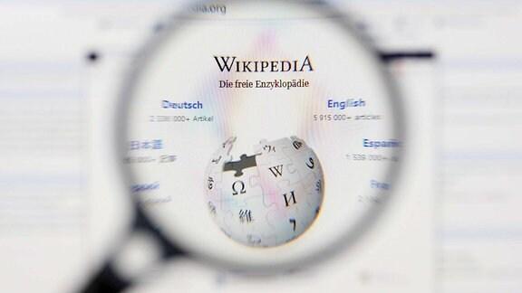 Eine Lupe vergröߟert das Logo von Wikipedia - Die freie Enzyklopädie