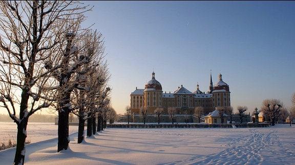 Schloss Moritzburg, mit zugefrorenem Teich, im Winter