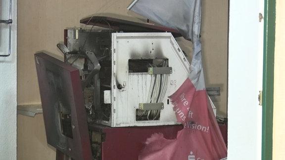 ein gesprengter Geldautomat