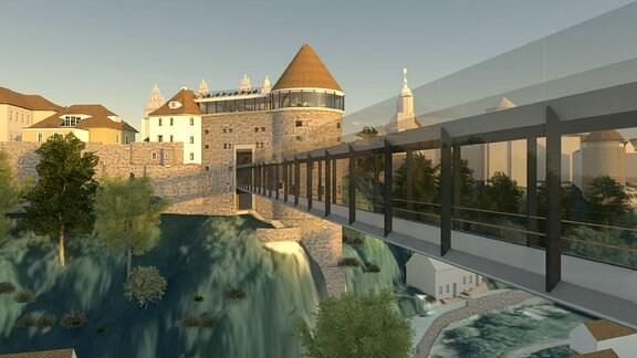 Visualisierung der geplanten Spreebrücke in Bautzen