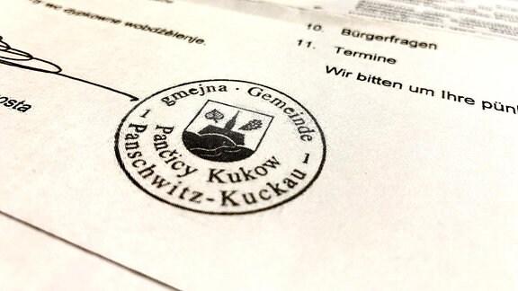 Ein Dokument mit einem Stempel der Gemeinde Panschwitz-Kukau