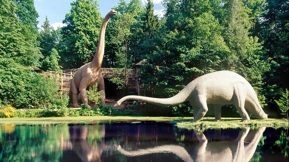 Brachiosaurus (links) und Diplodocus (rechts) am See.
