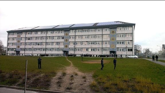 Außenansicht der Erstaufnahmeeinrichtung für Flüchtlinge in Schneeberg