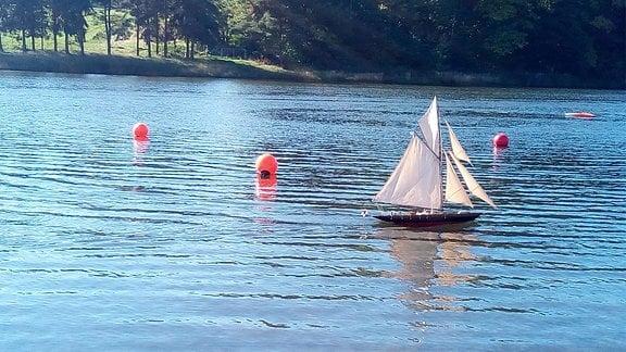 Ein Modellsegelboot fährt auf einem kleinen See.