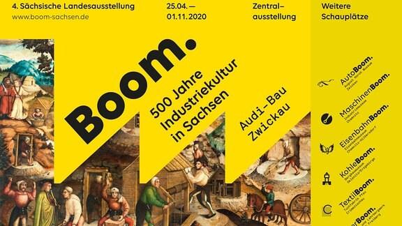 Plakat mi dem Titel 'Boom. 500 Jahre Industriekultur in Sachsen'