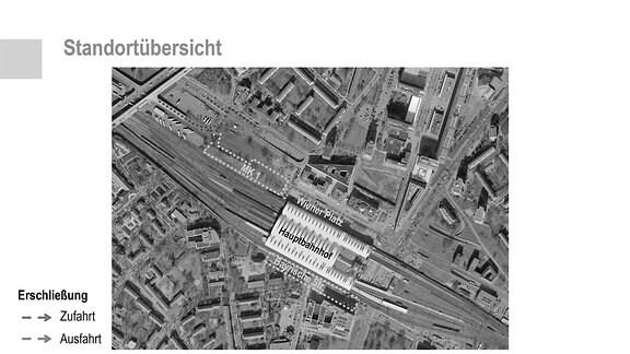 alter und möglicher neuer Standort des zentralen Fernbusbahnhofes in Dresden in der Draufsicht