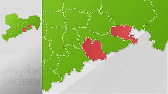Karte Region Dippoldiswalde und Sebnitz