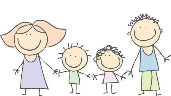 Symbolbild: Glückliche Familie - Über den lachenden Figuren von Mutter, Vater und zwei Kindern scheint eine Sonne.