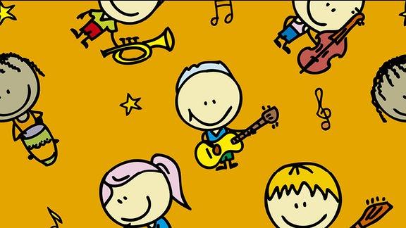 Illustration: Kindermusik - gezeichnete Kinderfiguren mit Musikinstrumenten
