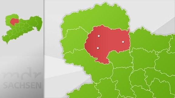 Karte Region Grimma, Oschatz und Wurzen