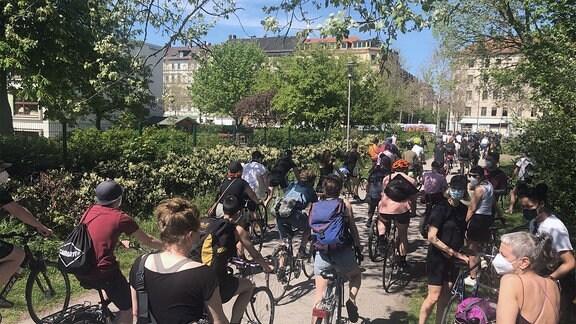 Zahlreiche Menschen fahren mit Fahrrädern auf einem Weg, der durch einen kleinen Park führt.