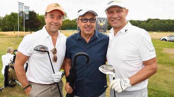 Jan Josef Liefers, Wolfgang Stumph und Axel Schulz beim 11. Charity Golf Turnier, Leipzig