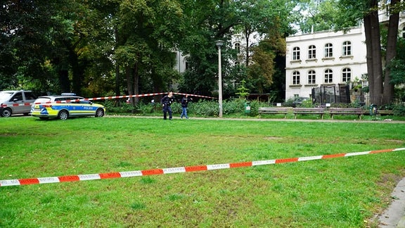 Polizeiiabsperrung in Leipzig