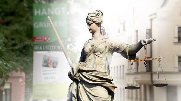 Eine Justitia Figur.