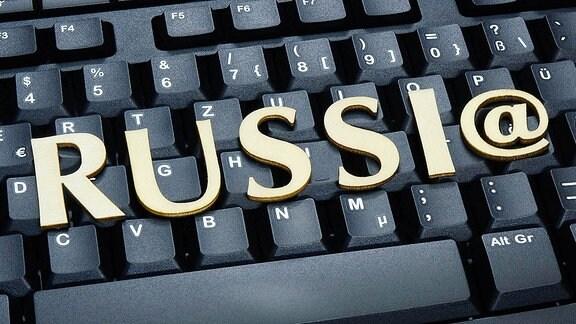 Schriftzug Russia auf Tastatur