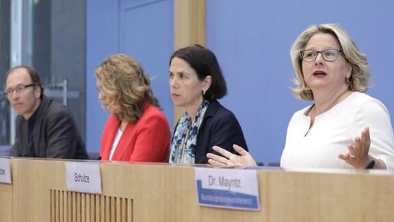 Uwe Nestle, Prof. Claudia Kemfert, Dr. Katja Rietzler und Svenja Schulze