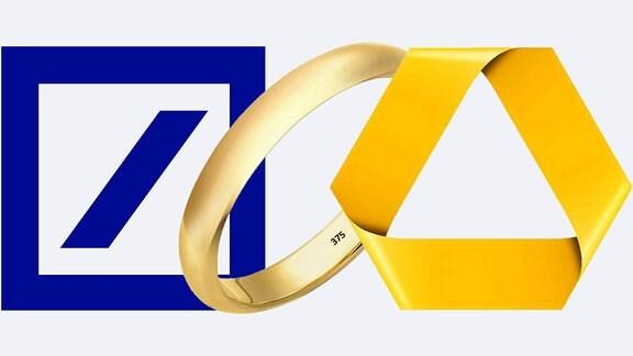 Zwischen Logos der Deutschen Bank und der Commerzbank steht ein Ehering