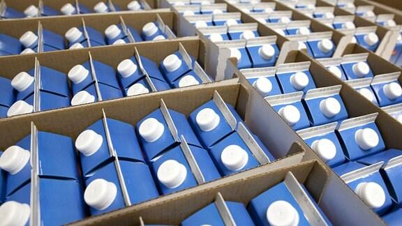 Milch in Einwegverpackungen