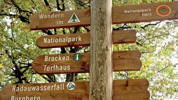 Wegweiser zum Teufelsstieg im Harz