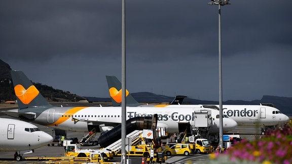 Zwei Airbus A320 Condor Thomas Cook bei der Abfertigung am Flughafen Madeira Cristiano Ronaldo