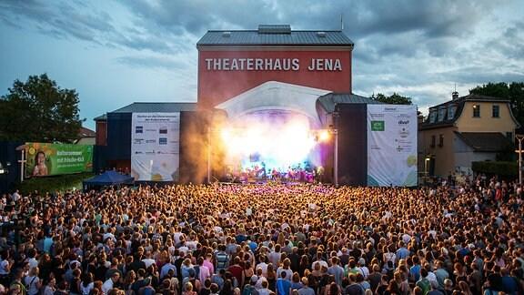 Lichtshow bei der Kulturarena Jena