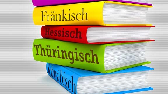 Grafik eines Stapels mit (erfundenen) Wörterbüchern