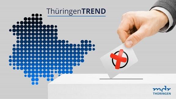 Symbolbild, bei dem eine Hand einen Stimmzettel in eine Wahlurne wirft.