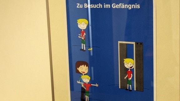 Hinweisschild - Zu Besuch im Gefängnis.