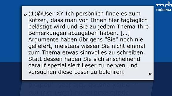 Texttafel 1 User sagt: @XY Ich persönlich finde es zum Kotzen, dass man von Ihnen hier tagtäglich belästigt wird und Sie zu jedem Thema Ihre Bemerkungen abzugeben haben. […] Argumente haben übrigens Sie noch nie geliefert, meistens wissen Sie nicht einmal zum Thema etwas sinnvolles zu schreiben. Statt dessen haben Sie sich anscheinend darauf spezialisiert Leser zu nerven und versuchen diese Leser zu belehren. MDR Thüringen sagt: Lieber User, auch der von Ihnen gemeinte User findet Ihre Meinungen vielleicht nicht soooo prickelnd, aber dafür ist es halt ein Kommentarbereich, dass andere hier nicht Ihre Meinung wiederholen, sondern ihre eigene sagen. Statt persönlicher Angriffe einfach ein paar Argumente posten - dann erscheint Ihr Kommentar auch.