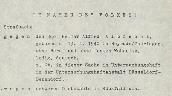 Urteil zu Udo Albrecht von 1968 in Krefeld