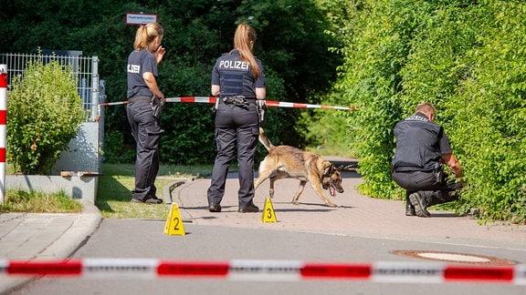 Polizisten bei der  Spurensicherung hinter Absperrband.