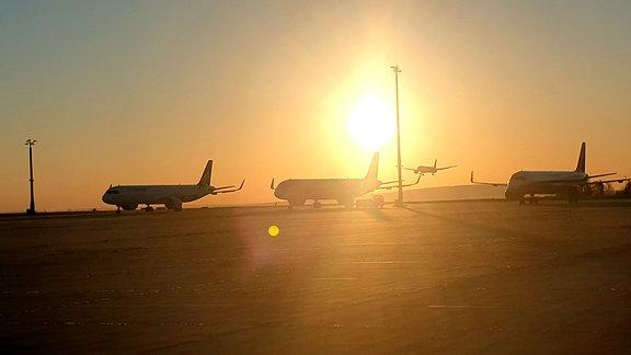 Mehrere Flugzeuge stehen auf einem Flughafen, eines befindet sich im Landeanflug