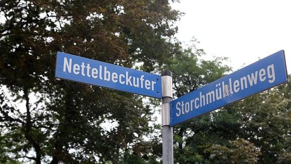 Straßenschild mit der Aufschrift Nettelbeckufer