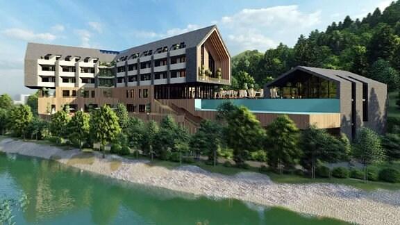 Computer-Modell eines Hotels am Fluss im Schwarzatal