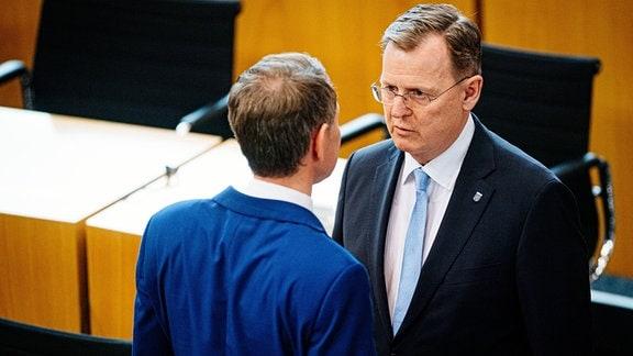 Bodo Ramelow und Björn Höcke nach der Abstimmung zum Ministerrpäsidenten im März 2020.